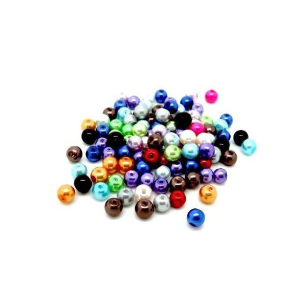 50 Perles Nacrée 6 mm Couleurs Différentes effet vert