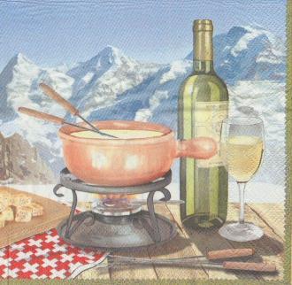 4 Serviettes en papier Fondue savoyarde Alpes Format Lunch