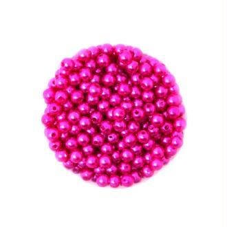 100 Perles ronde nacré acrylique Fuchsia 6 mm