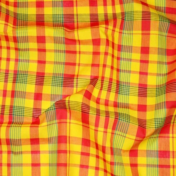 Tissu madras - tissu coton madras  jaune-rouge-vert (x20cm) - Photo n°2