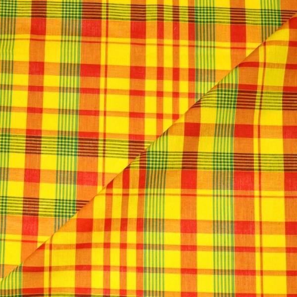 Tissu madras - tissu coton madras  jaune-rouge-vert (x20cm) - Photo n°3