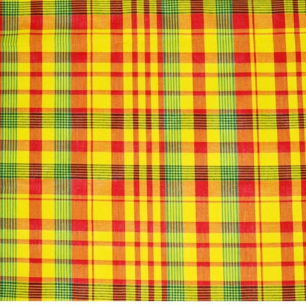 Tissu madras - tissu coton madras  jaune-rouge-vert (x20cm) - Photo n°1