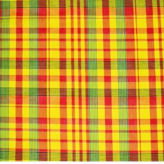 Tissu madras - tissu coton madras  jaune-rouge-vert (x20cm)