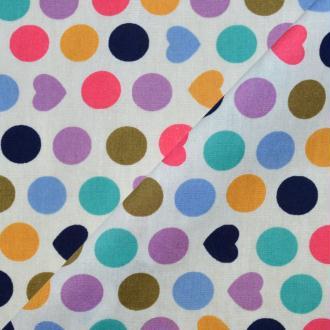 Tissu popeline coton imprimé ronds et cœurs (x20cm)