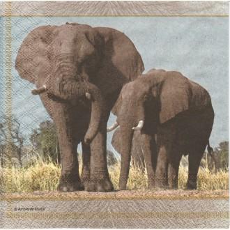 4 Serviettes en papier Savane éléphant Format Lunch