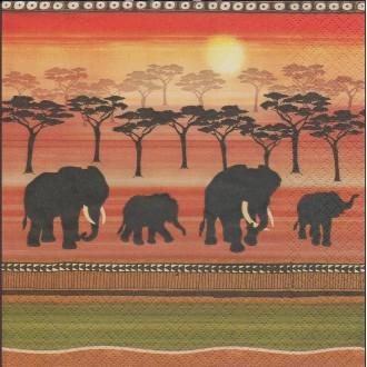 4 Serviettes en papier éléphant Savane Afrique Format Lunch