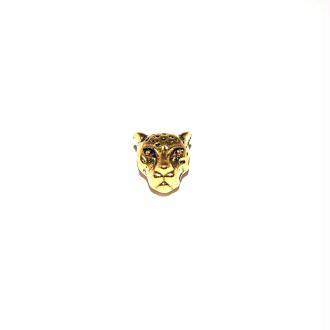 Perle tête de Léopard métal doré 10x7mm trou 1.7mm