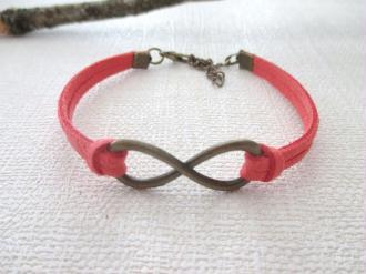 Kit bracelet 16.5 cm suédine corail lien infini bronze