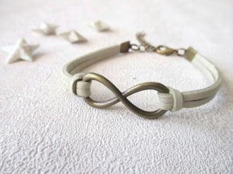 Kit bracelet suédine beige cuir lien infini