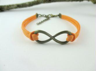 Kit bracelet suédine orange et bronze