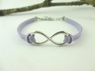 Kit bracelet suédine lilas et lien infini