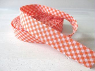 Lot de 1 métre de Biais 20 mm motif vichy blanc et orange