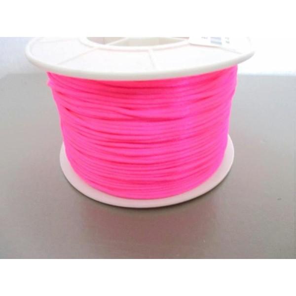 Lot de 5m cordon fil de nylon pour bracelet 1.5mm  rose fluo