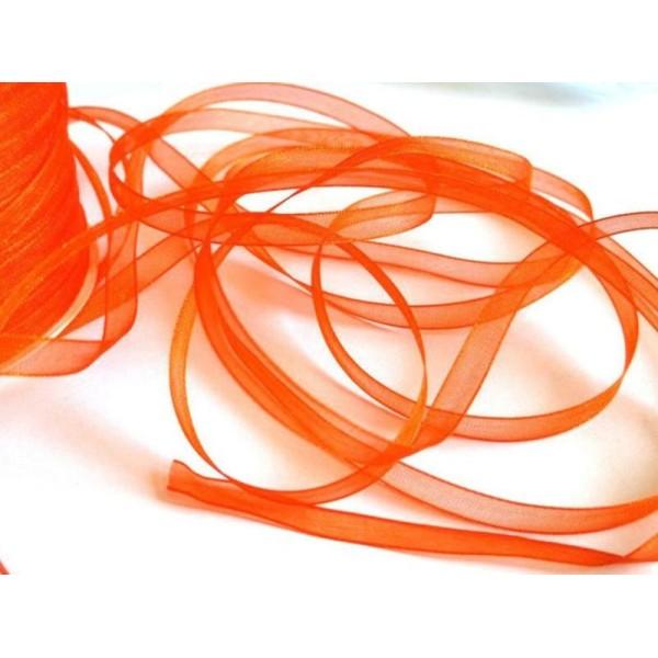 Ruban Organza 6mm Bobine de 5 Mètres Orange