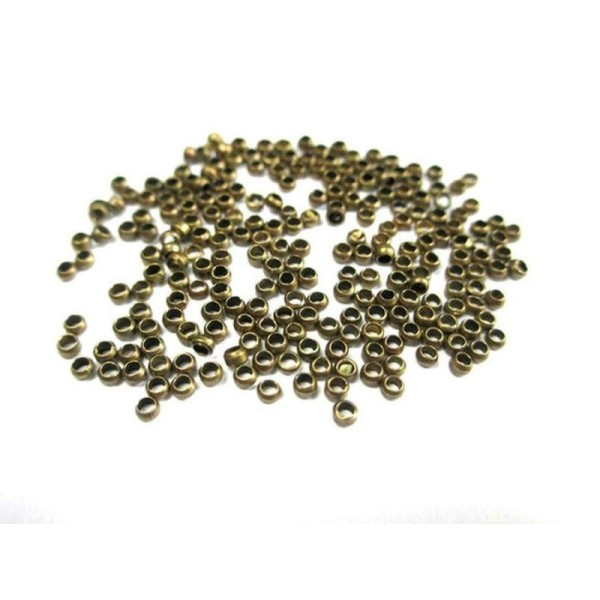 500 Perles À Écraser Métal Couleur Bronze 2Mm - Photo n°1