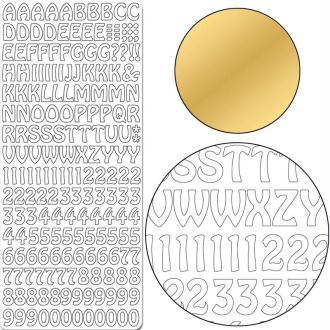 Autocollant Peel off Lettres et chiffres or