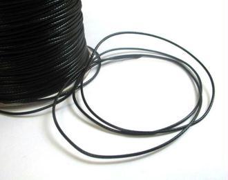 10M Fil Cordon Polyester Noir Ciré 1Mm