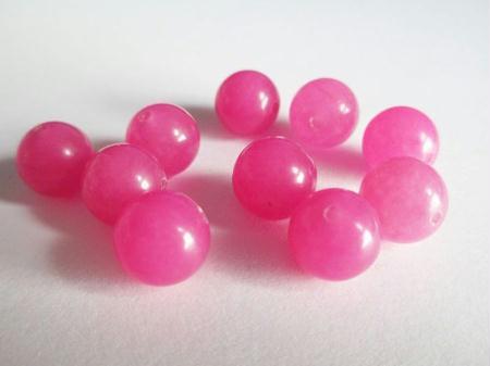 10 Perles Jade Naturelle Rose Bonbon 10Mm - LA BOUTIQUE DE MIMIE