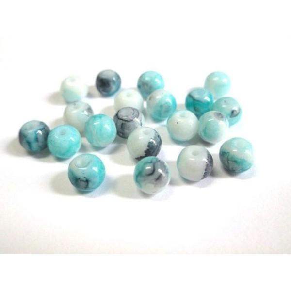 30 perles de verre  6 mm turquoise moucheté
