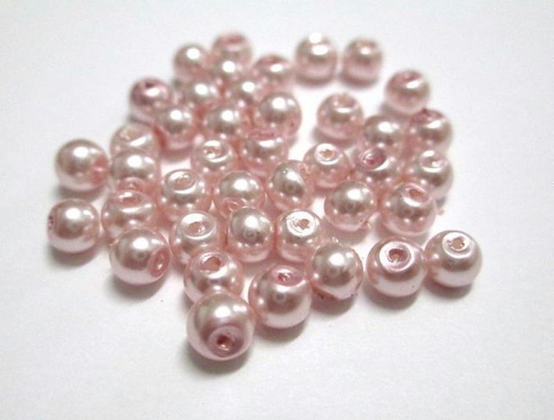 Lot de 20 Perles Rondes Nacrées en Verre 10mm Rose clair