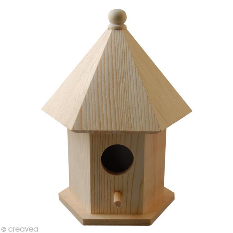Nichoir en bois 6 faces 15 5 cm nichoir d corer creavea - Nichoir en bois a decorer ...