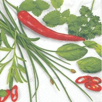 4 Serviettes en papier Cuisine Piment Herbes Format Lunch