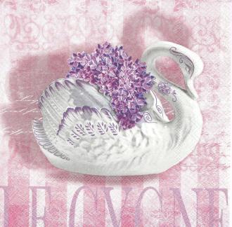 4 Serviettes en papier Mariage Le Cygne Format Lunch