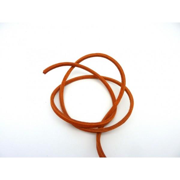 1m Cuir Carré 3,3mm De Couleur Orange - Cuir Veritable - Photo n°2