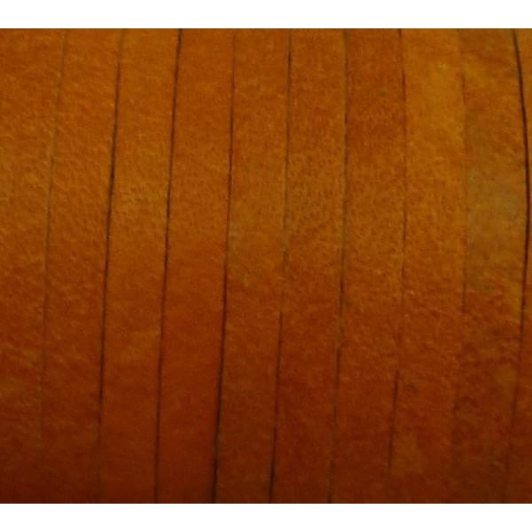 1m Cuir Carré 3,3mm De Couleur Orange - Cuir Veritable - Photo n°3