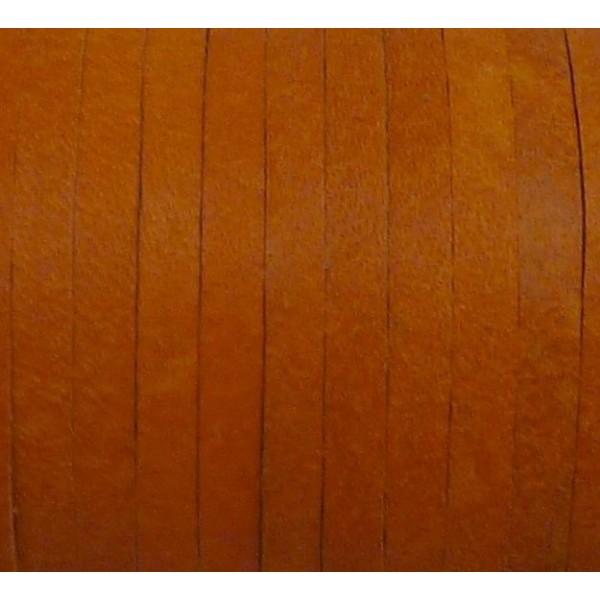 1m Cuir Carré 3,3mm De Couleur Orange - Cuir Veritable - Photo n°1