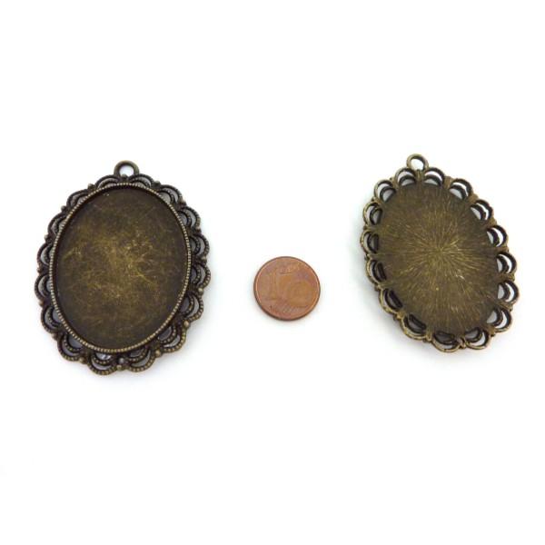 Grand Pendentifs Bronze Pour Cabochon De 30mm X 40mm En Métal - Photo n°2