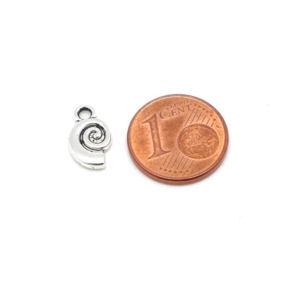 Lot De 20 Breloques Escargot, Pendentif Escargot Spirale En Métal Argenté 12mm X 7mm - Photo n°3