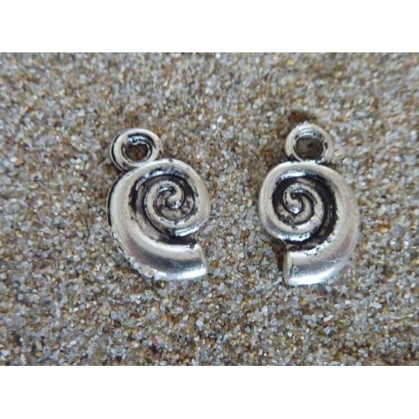Lot De 20 Breloques Escargot, Pendentif Escargot Spirale En Métal Argenté 12mm X 7mm - Photo n°4