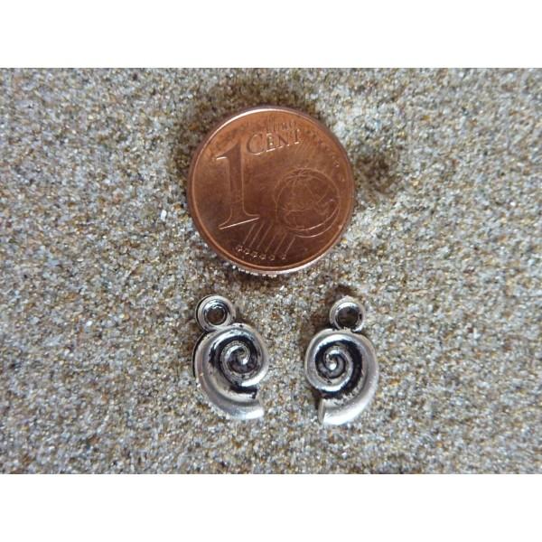 Lot De 20 Breloques Escargot, Pendentif Escargot Spirale En Métal Argenté 12mm X 7mm - Photo n°5