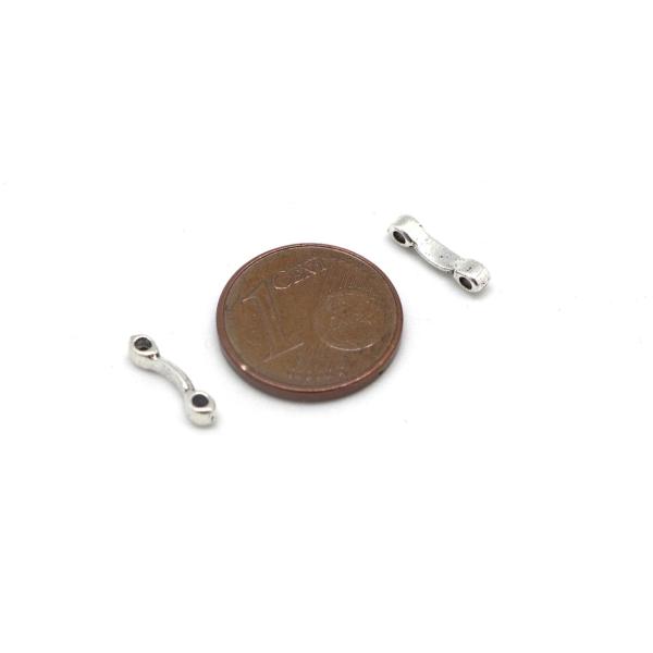 50 Perles Multi Rangs, 2 Trous En Métal Argenté Pour Cordon De 1mm - Photo n°2