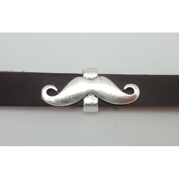 Perle Passant Moustache 29,6mm En Métal Argenté - Photo n°3
