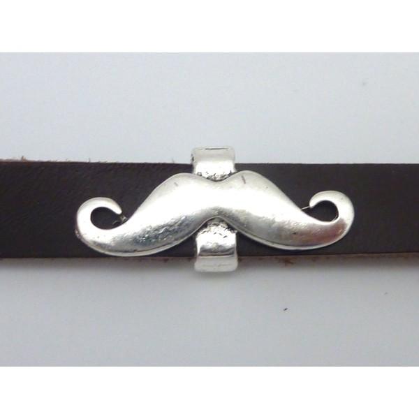 Perle Passant Moustache 29,6mm En Métal Argenté - Photo n°4