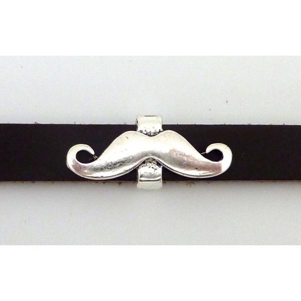Perle Passant Moustache 29,6mm En Métal Argenté - Photo n°5