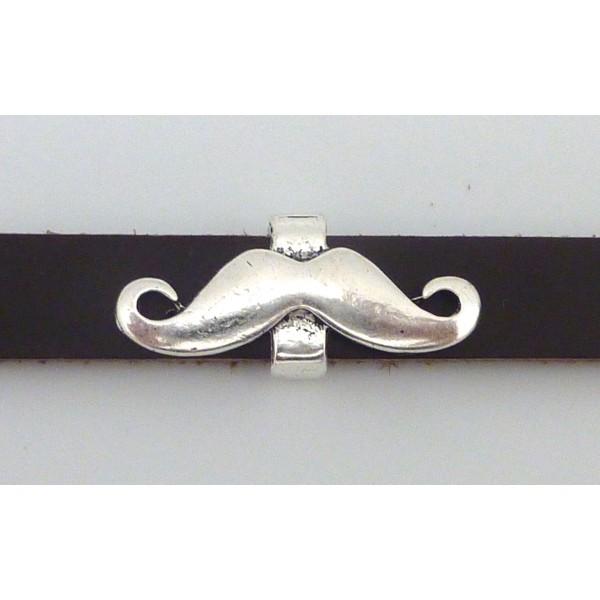 Perle Passant Moustache 29,6mm En Métal Argenté - Photo n°1