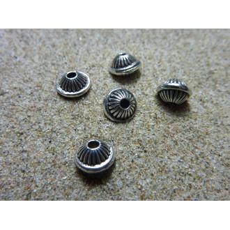 20 Perles Toupie, Ronde En Métal Argenté Strié 7mm