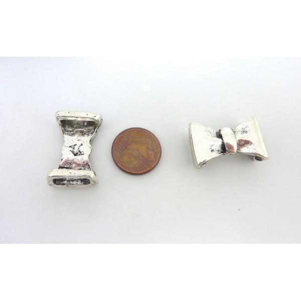 2 Perles Passant Noeud En Métal Argenté Pour Lanière Cuir 10mm - Photo n°2