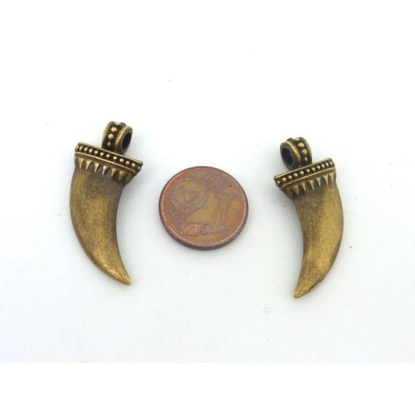 R-2 Breloques Dent, Corne 28mm En Métal De Couleur Bronze - Photo n°2