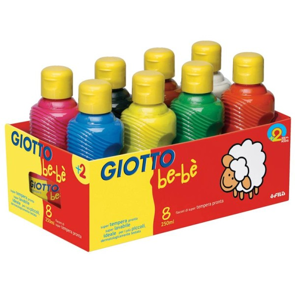 Peinture gouache GIOTTO Bébé 8 couleurs assorties - 8 x 250ml - Photo n°1