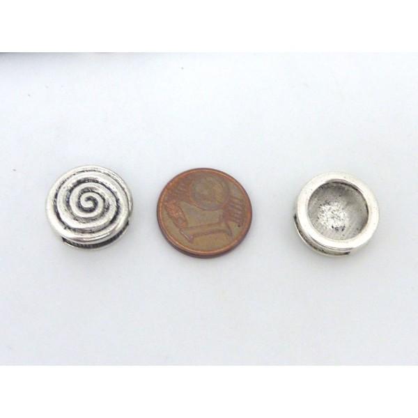 5 Perles Passant Ronde 14,3mm Motif Spirale En Métal Argenté - Photo n°4