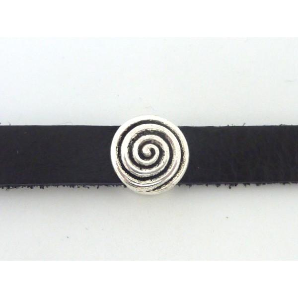 5 Perles Passant Ronde 14,3mm Motif Spirale En Métal Argenté - Photo n°1