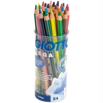 Crayons de couleurs GIOTTO Mega x 24 - Coffret école