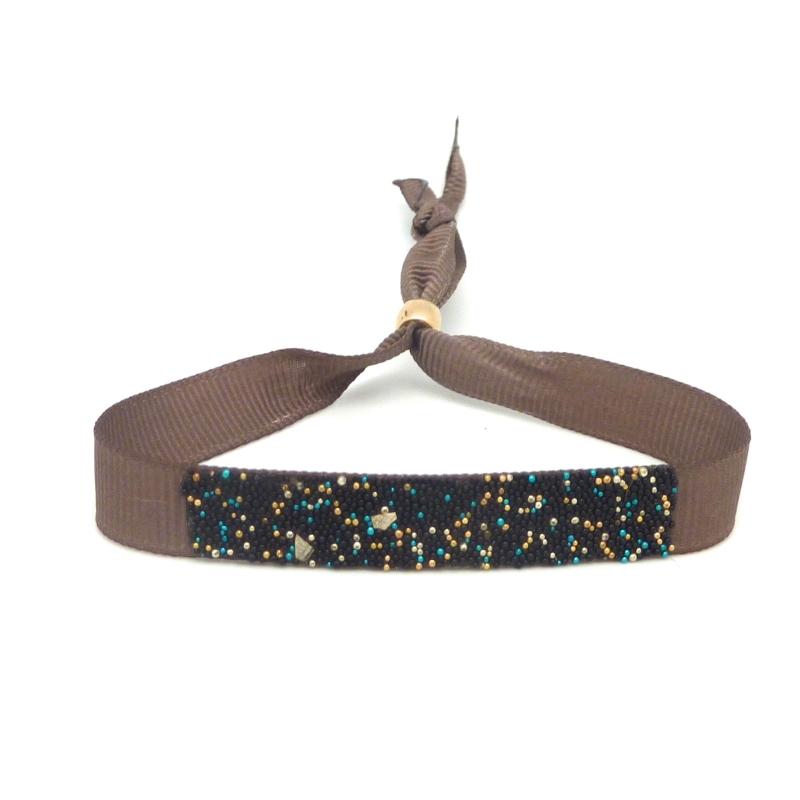Kit de cr ation bracelet ruban fauve ajustable et microbilles multicolore thermocollante fond - Bracelet perle et ruban ...