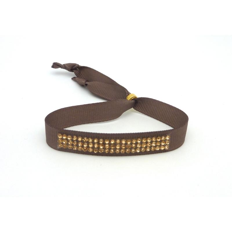 Kit de cr ation bracelet strass dor et ruban fauve ajustable kit bijoux adulte creavea - Bracelet perle et ruban ...