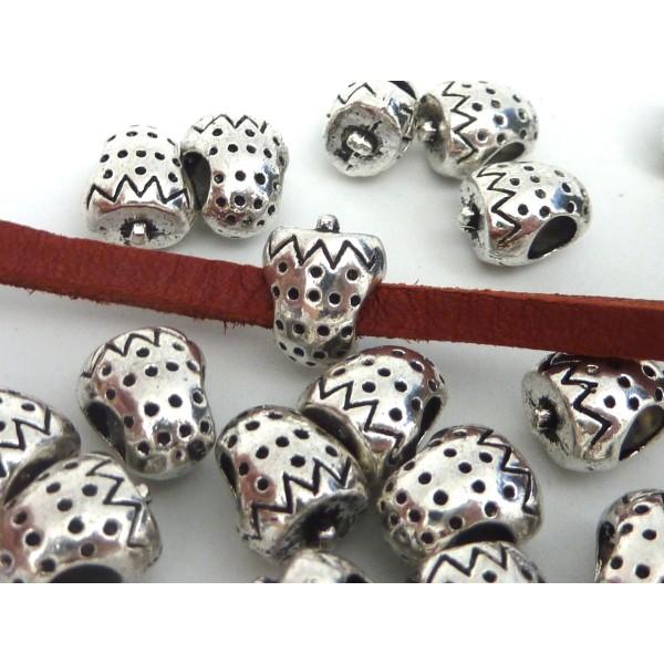 5 Perles Passant Fraise Intercalaire Gros Trou 4,5mm En Métal Argenté - Photo n°2