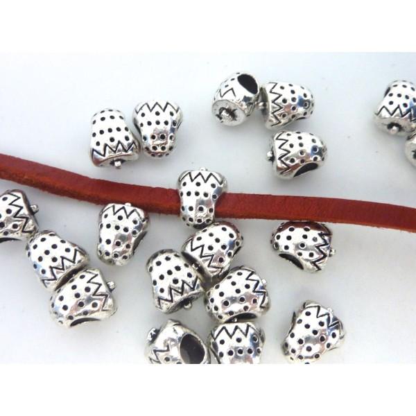 5 Perles Passant Fraise Intercalaire Gros Trou 4,5mm En Métal Argenté - Photo n°3